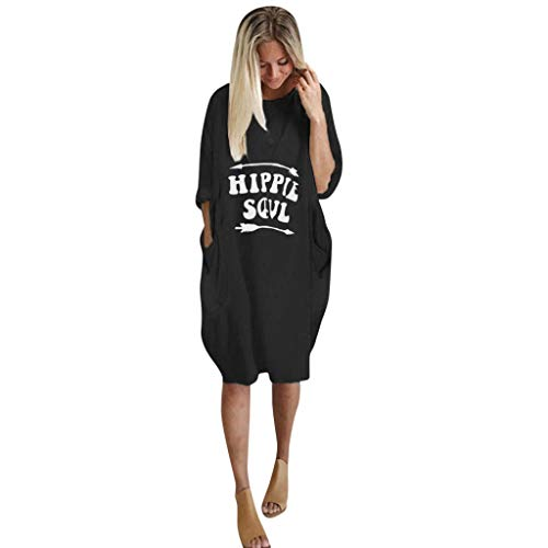VEMOW Damenmode Tasche Lose Kleid Damen Rundhalsausschnitt beiläufige Tägliche Lange Tops Kleid Plus Größe(A-Schwarz, 52 DE / 3XL CN)