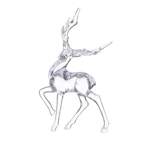 XIMIN Mini Kristall Hirsch Tier Figur, Elch Kristall Figuren Ornamente, Hirschskulptur Marmor Figur Statuen, Haus Dekoration Geschenk Kunst Ornament Tischdekoration Valentinstag