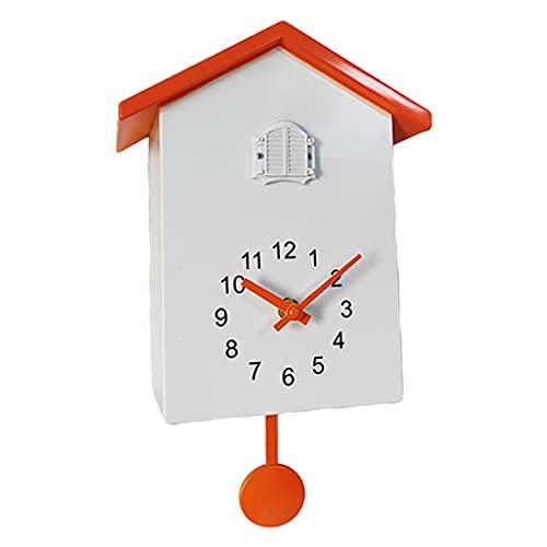 H HILABEE Reloj de Pared de Cuco Reloj de Péndulo para Habitación Infantil Reloj Decoración de Pared Naranja - Naranja