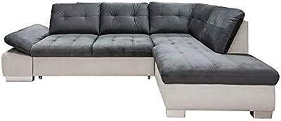 tendencio Canapé d'angle Convertible Gali Gris Blanc avec lit