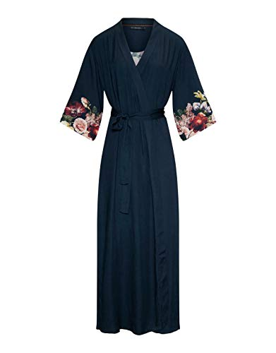 ESSENZA Kimono Jula Anneclaire Blumen Pfingstrosen Tulpen Viskose Indigo Blue, M
