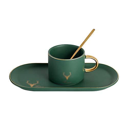 Cafetos De Cerámica/Tazas De Té Y Tazas De Tazas De Taza De Café Set De Taza De Taza De Porcelana, Taza De Desayuno Y Plato, Adecuado Para Café, Té, Jugo, Leche Caliente,Verde