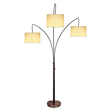 Brightech Trilage LED Arc Floor Lamp: Tall Modern Standing 3 Arms/Arches/Hanging Lights/Heads, Traditional Lamp Shades- Classy & Contemporary for Living Room, Office, Bedroom -Oil Brushed Bronze