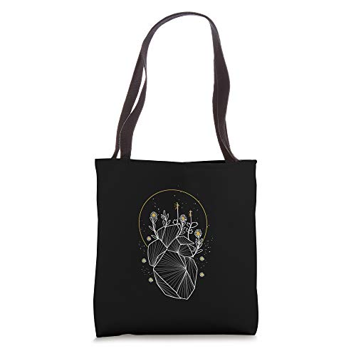 Moon Line Geometric Anatomical Heart Flowers Space Art Gift Tote Bag