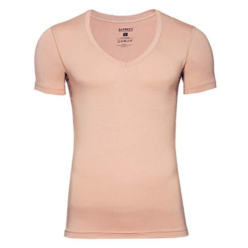 SAPREZA SAPREZA Business-Herren-Unterhemd in Hautfarbe, mit tiefem V-Ausschnitt, Männer-Unterhemd Unsichtbar aus Stretch-Micromodal Deep, 3XL