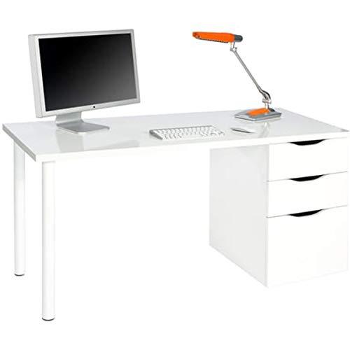 PEGANE Bureau Reversible avec tiroir Coloris Blanc Artic - 74 x 138 x 60 cm