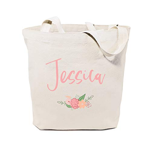 The Cotton & Canvas Co. Personalized Colored Name Floral Beach, Shopping and Travel Resusable Shoulder Tote and Handbag