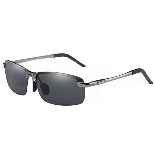 LZXC Herren Polarisierte Sonnenbrille UV400 Schutz Brille zum Autofahren, Metallisch, Regulär, Metallisch Grauer Rahmen/Schwarze Linse