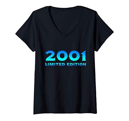 Mujer 19 Años Cumpleaños Chico Chica Regalo Deco Divertido 2001 Camiseta Cuello V