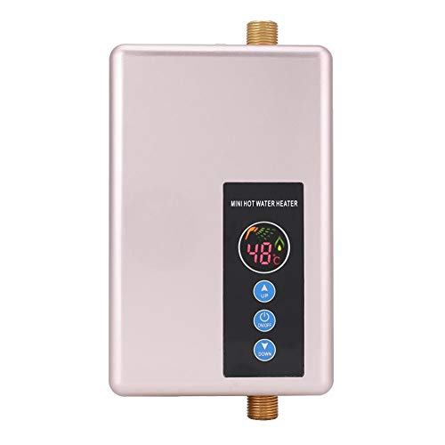 Mini-Durchlauferhitzer, 5500 Watt Elektrische Durchlauferhitzer Schnelle Heizung Tankless Dusche Warmwasserbereiter für Badezimmer Küche Waschen 220 V (Gold)
