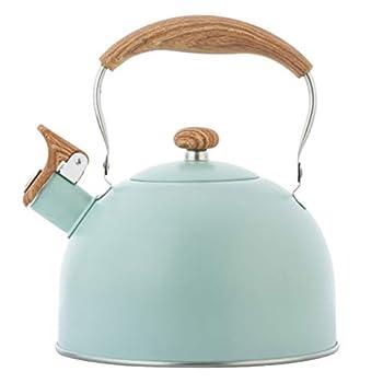 Yardwe 2 5L Stainless Steel Tea Kettle Stovetop Water Kettle Whistling Teakettle Teapot with Wooden Handle Flat Bottom Heating Teakettle for Home Restaurant Hotel Green