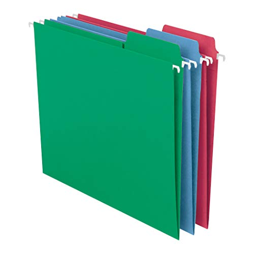 Smead FasTab Hanging File Folder, 1/3-Cut Built-in Tab, Letter Size, Assorted Primary Colors, 18 per Box (64053), Primary Color Assortment