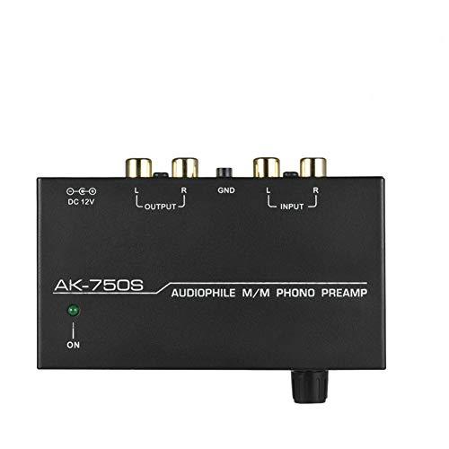 Preamplificatore fono nero Volume audio elettronico elettronico a basso rumore Metallo stereo regolabile con controlli di livello Preamplificatore portatile Uscita casa Giradischi(Unione Europea)