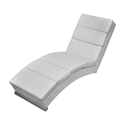 vidaXL Chaise Longue Cuir Synthétique Blanc Transat Chilienne Meuble de Jardin