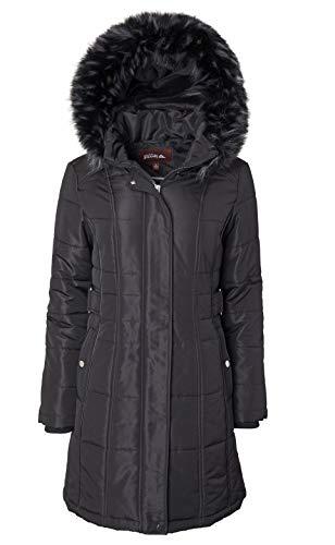 ELORA Women's Winter Puffer Mid Length Cargo Pocket Coat Fur Trim Removable Hood,Rio Red,2X