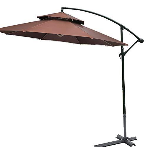 Outdoor Umbrella KUWD Parasol Suspendu pour Porte-à-Faux, Auvent Rond 270 Cm avec Base en Croix, Double Plateau, 8 Nervures, Design à Bascule, 5 Couleurs, pour Tentes De Camping, Piscine Et Plage