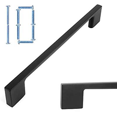 Koofizo Square D Cabinet Pull - Black Furniture Handle, 6.3 Inch/160mm Screw Spacing, 10-Pack for Kitchen Cupboard Door, Bedroom Dresser Drawer, Bathroom Wardrobe Hardware