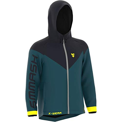 SMMASH Ocr X - Chaqueta de running profesional con capucha para hombre y mujer, resistente al viento, impermeable, regula el calor, material de secado rápido, fabricada en la UE (XL)