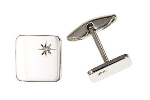 De diamants carré Boutons de manchette – Argent Sterling 925 – Livré dans une boîte cadeau gratuit ou sac cadeau
