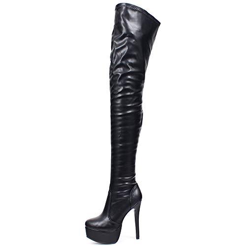 JiaLuoWei Women Over Knee Boots, Zipper Sexy Over The Knee Boots for Women Fashion Boots 16cm High Heels (11, Black matt)
