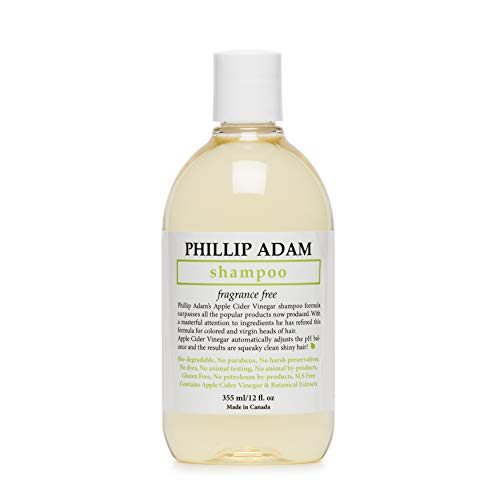 Phillip Adam Fragrance Free Shampoo - Sulfate Free and Paraben Free - Balances pH of Hair and Scalp - 12 Ounce