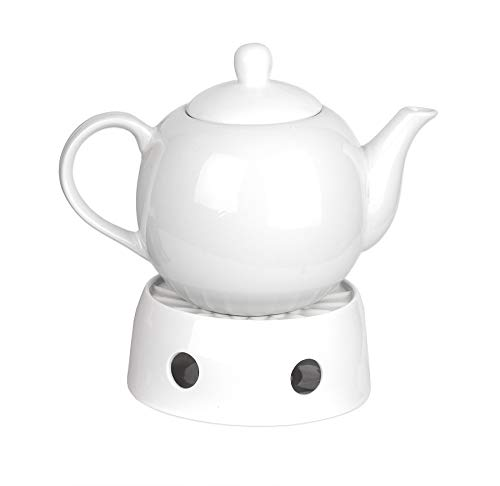 BigDean Teekanne Weiss 1,1L + Stövchen Edel Porzellan Kaffekanne Porzellankanne Kanne