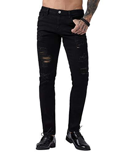 ZLZ Herren Biker-Jeans mit Löchern, zerrissene Skinny Distressed Destroyed Slim Fit Stretch - Schwarz - 48