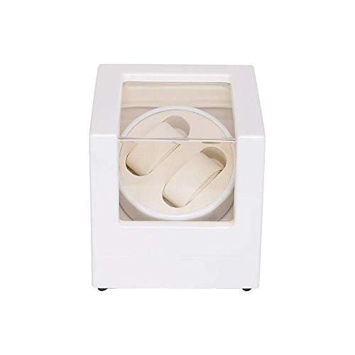 Caja enrolladora automática de relojes Caja enrolladora automática 2 relojes Blanco, batería Caja de presentación de relojes silenciosa doble de madera Estuche de almacenamiento Blanco Regalo de vaca