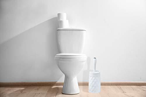 Superio Toilet Brush with Soap Dispenser White, Diamond Design Round Toilet Brush with Holder, Decorative Crystal Luxe Toilet Brush