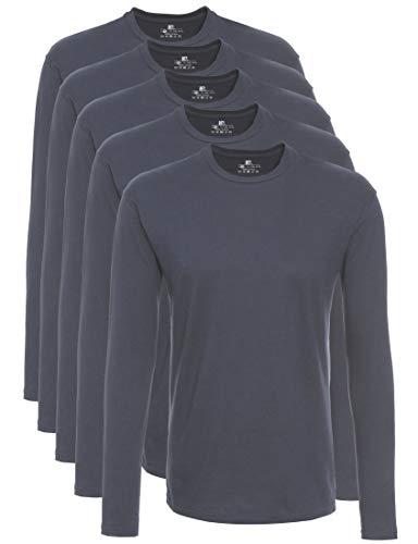 Lower East Herren Langarm-Shirt mit Rundhalsausschnitt aus 100{1e83a37924cafba8b4814cba9e273a871169b19553f1de6bdb56161cca458048} Baumwolle, 5er Pack, Grau (Folkstone Grey), XXL