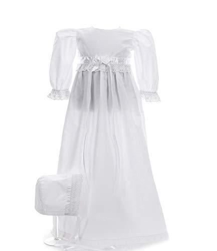 Princess Taufkleid Kleid für Taufe traditionell lang Charlotta Weiss Grösse 62 Langarm mit Haube aus Baumwolle