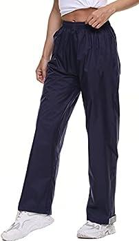BenBoy Women s Rain Pants Waterproof Windproof Breathable Lightweight Outdoor Over Pants for Hiking,YK5310W-Blue-XS