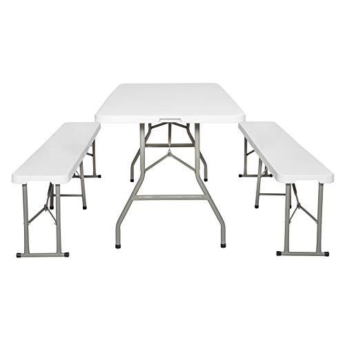 TecTake Table de Camping Pliable Table de Jardin Pique Nique et 2 Bancs Pliants Poignées de Transport 180 cm x 74 cm x 73 cm Blanc