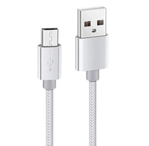 Kit Me Out Datenkabel für Asus Zenfone Max (M1) (ZB555KL) [1M] Datenkabel Micro USB Kabel [USB 3.0] Schnelles Aufladen & Synchronisation [3.1 Amp Schnellladekabel] Nylon Ladekabel - Weiß