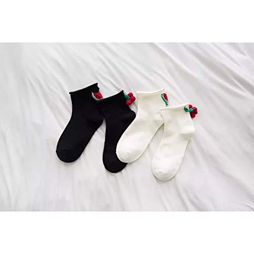 MIWNXM 10 Paare Harajuku Style Girl's Short Socks Breathable Pure Cotton Socks Creative Cherry and Watermelon Chic Socks Women