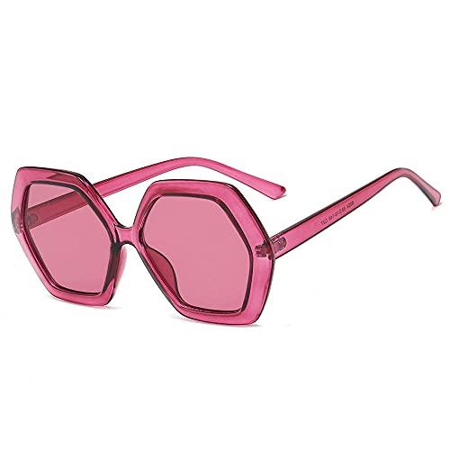 XDOUBAO Gafas Gafas de sol Moda Tendencia Gafas Femeninas Femeninas Irregulares Tinta-amarillo_Vino rojo