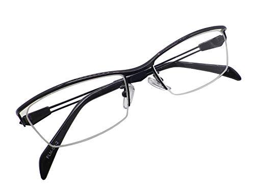 かっこいい 老眼鏡 シニアグラス リーディンググラス メンズ おしゃれ スタイリッシュ メタルナイロール ブラック 幅広 FLM001-2-3.0