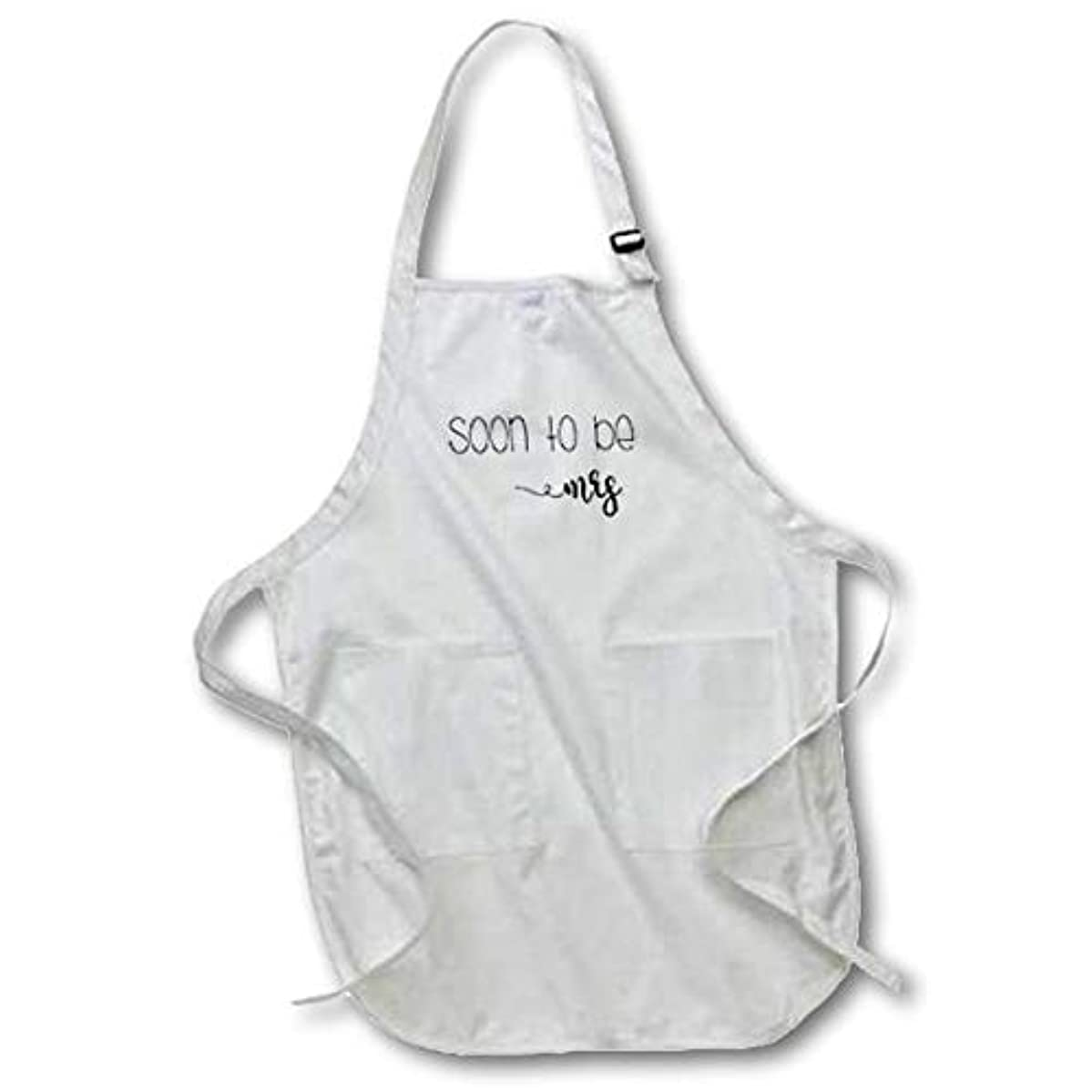 3D Rose Soon to Be Mrs. Engagement Quote Medium Length Apron - with Pouch Pockets, 22 x 24