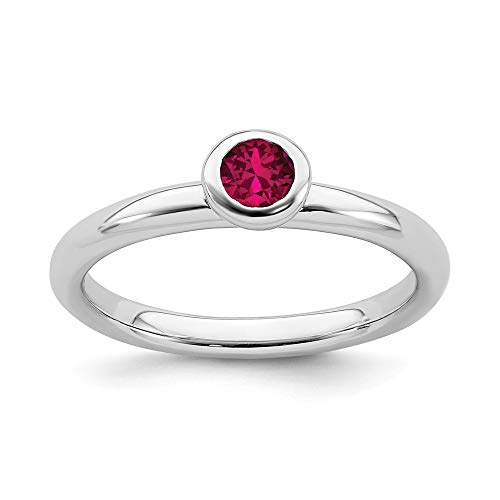 925 Sterling Silver Low 4mm Round Created Red Ruby Band Ring Size 10.00 Stone Stackable Gemstone Birthstone July Fine Mothers Day Jewelry For Women Gifts For Her