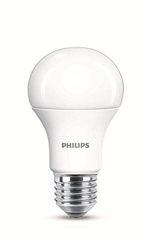 Philips–Lampadina LED A60E2710W (75W), attacco Edison Cool Day, satinato, 6500K lampadina, Sintetico, White, E27, 10 wattsW 240 voltsV