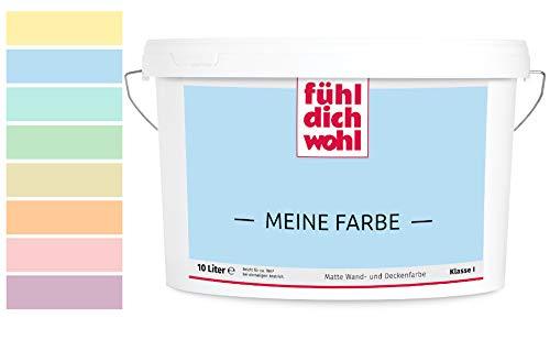 Fühl Dich Wohl Meine Farbe pastell, matte Wandfarbe pastell, hohe Deckkraft, verschiedene Pastelltöne zur Auswahl (2,5L, Pastellblau 14-27)