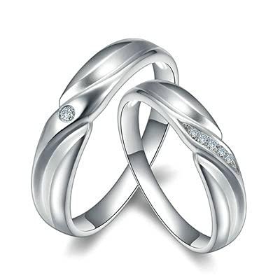 Bishilin Anillos de Boda Oro Blanco 750, Stripe 0.042 Diamante Anillo de Compromiso Anillo de Aniversario Aniversario Cumpleaos Plata Mujeres Talla 20 & Hombres Talla 15