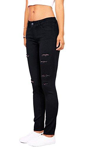 Wax Women's Juniors Mid-Rise Skinny Jegging Jeans w Distressing (7, Black)