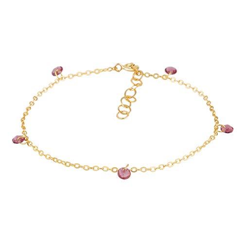 Córdoba Jewels   Pulsera en Plata de Ley 925 bañada en Oro con Piedra semipreciosa y Esmalte diseño Charms Amatista Gold