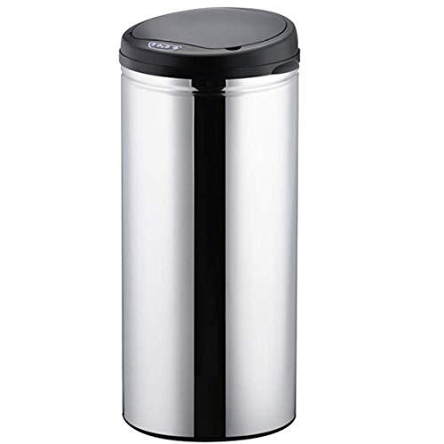 JLDN 50L / 13,2 galones Cubo de Basura Automático, sin tocarlo Cubo De Reciclaje Sensor de Movimiento Cubo de Basura con Tapa Papelera Aislar el Olor,Silver