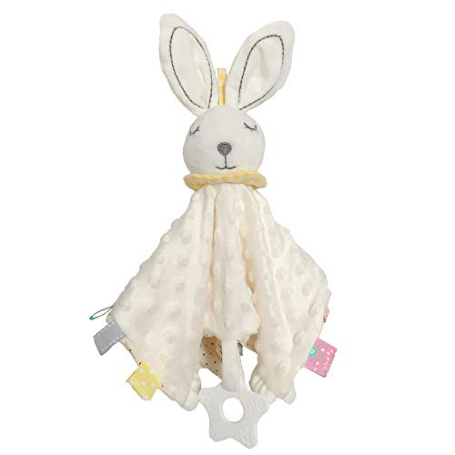 Baby Security Blanket with Tags Soft Plush Stuffed Animal Toys Lovey Soothing Sensory Toy Cute Minky Dot Fabric Cuddle Snuggle Blanket - White Bunny