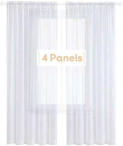 Anjee 4 Panels White Sheer Curtains 96 inches Long Faux Linen Texture Rod Pocket Semi Sheer Curtain for Bedroom Living Room Dining Room, 52 x 96 Inches