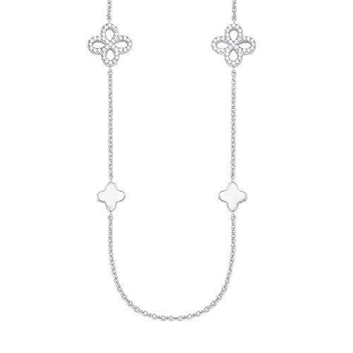 s.Oliver Damen-Kette mit Anhänger 75+5 cm Blume 925 Silber rhodiniert Zirkonia weiß 80 cm 2015170