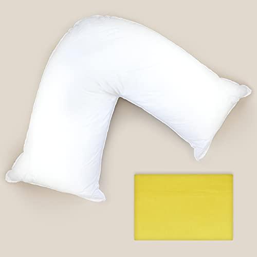 Grace Home Almohada de apoyo en forma de V con funda de almohada de maíz, relleno de fibra hueca, ortopédico, embarazo, lactancia, espalda, cuello, hombros, piernas en forma de V (maíz)