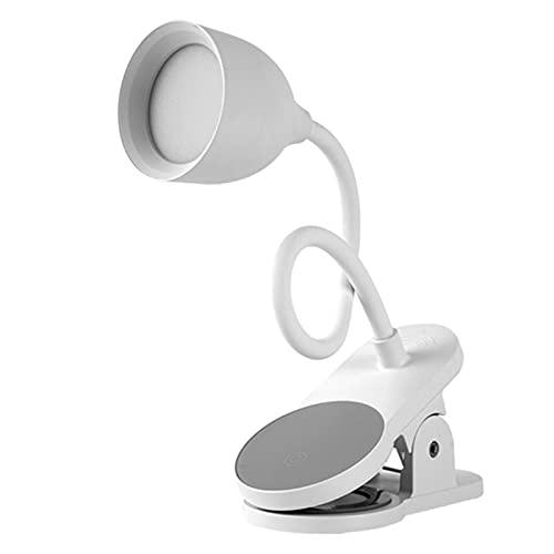 Adlereyire Lampara de Lectura Recargable, LED Luz Lectura con 360° Flexible Pinza, Brillo Ajustable Lámpara Pinza Iluminación Luz Nocturna para Leer Libros en la Cama (Color : White, Tamaño : 8cm)